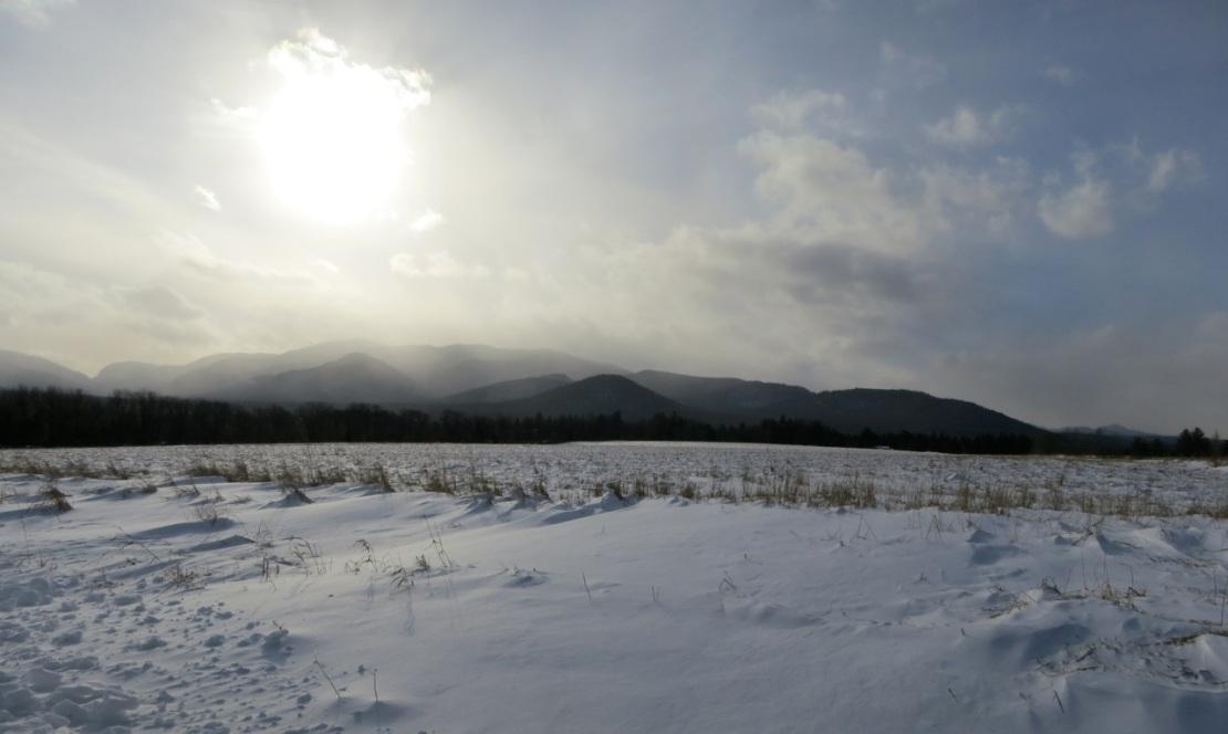 adirondack mountain view in winter